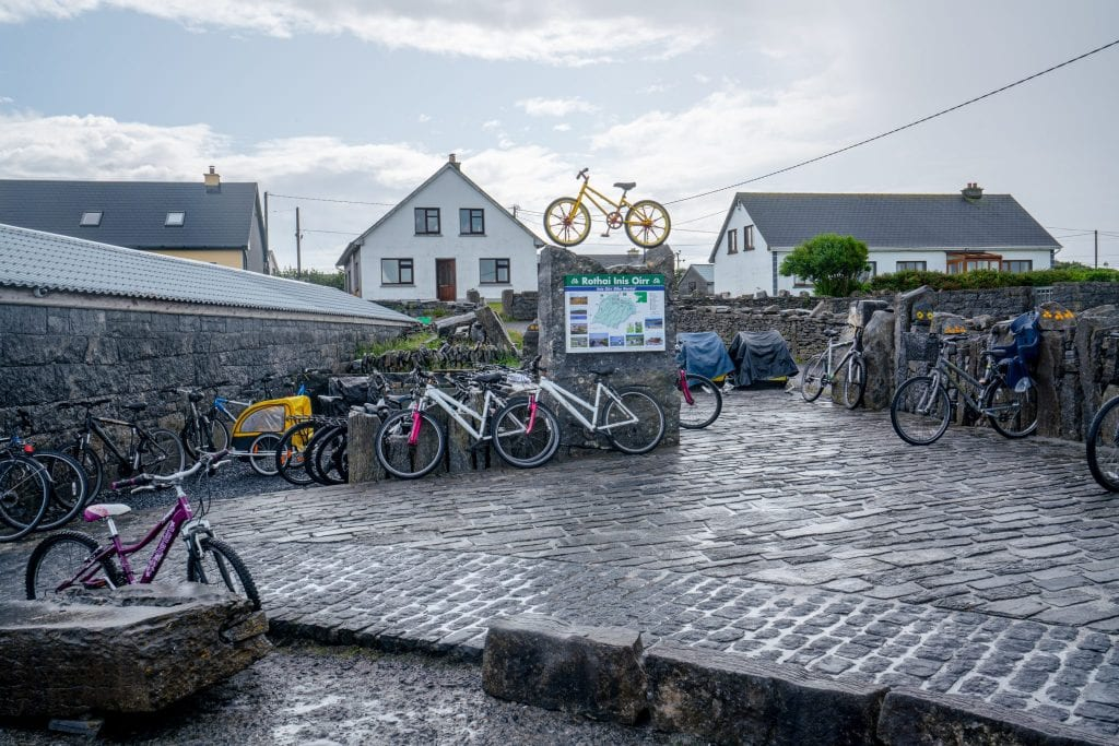Parked bikes waiting to be rented on Inisheer Island Ireland