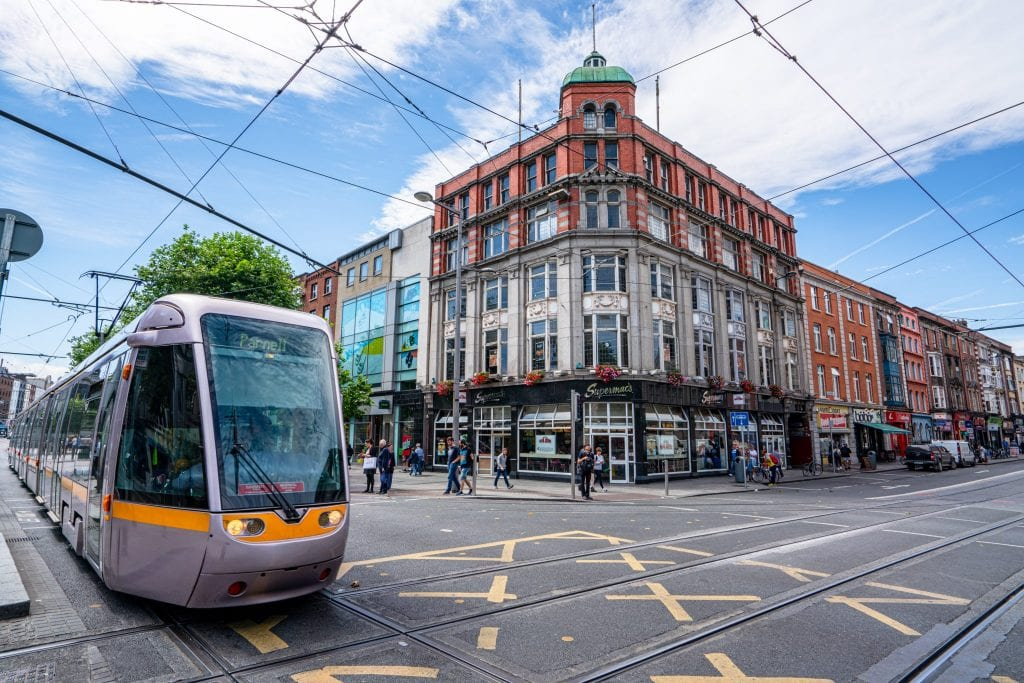Photo of streets of Dublin with a tram approaching from the left