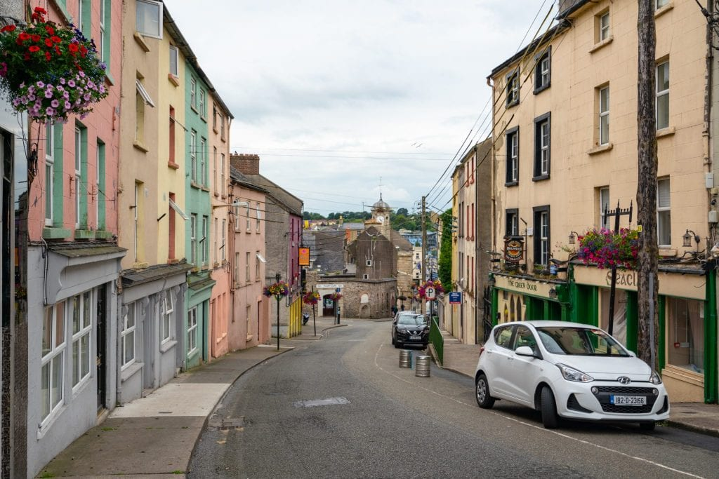 Hill street in New Orss Ireland on a cloudy day