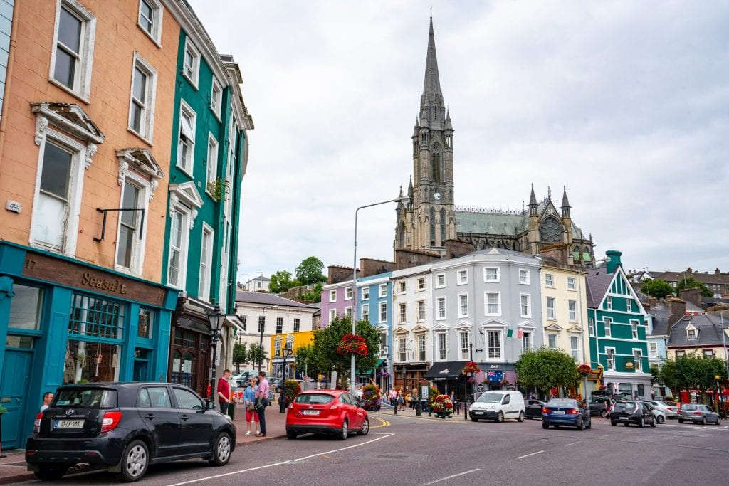 Main square in Cobh Ireland, with St Colman's Cathedral in the background