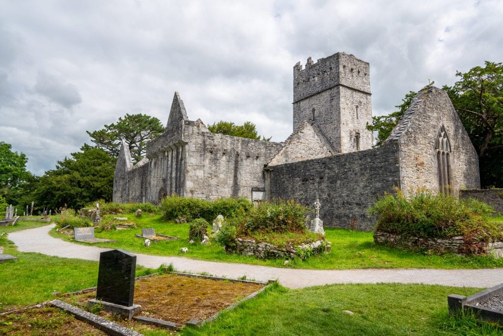 Muckross Abbey in Killarney National Park, as seen during an epic Ireland road trip!
