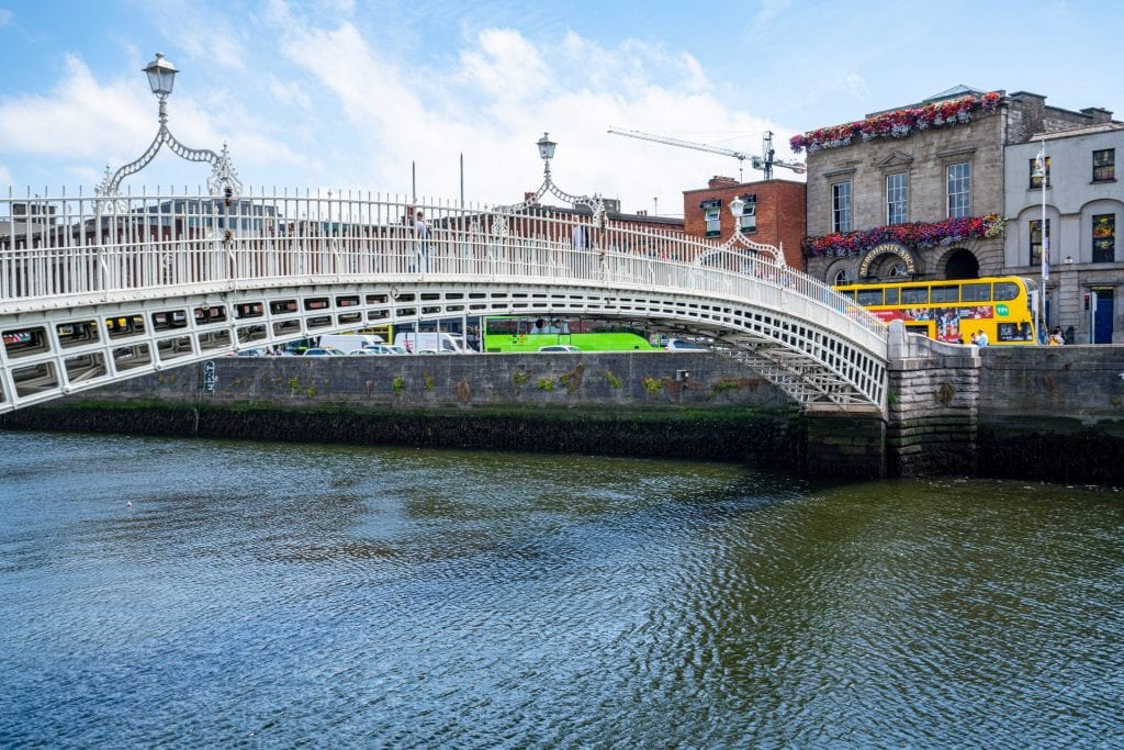 Ha'Penny Bridge crossing the River Liffey--don't miss this when spending a weekend in Dublin!