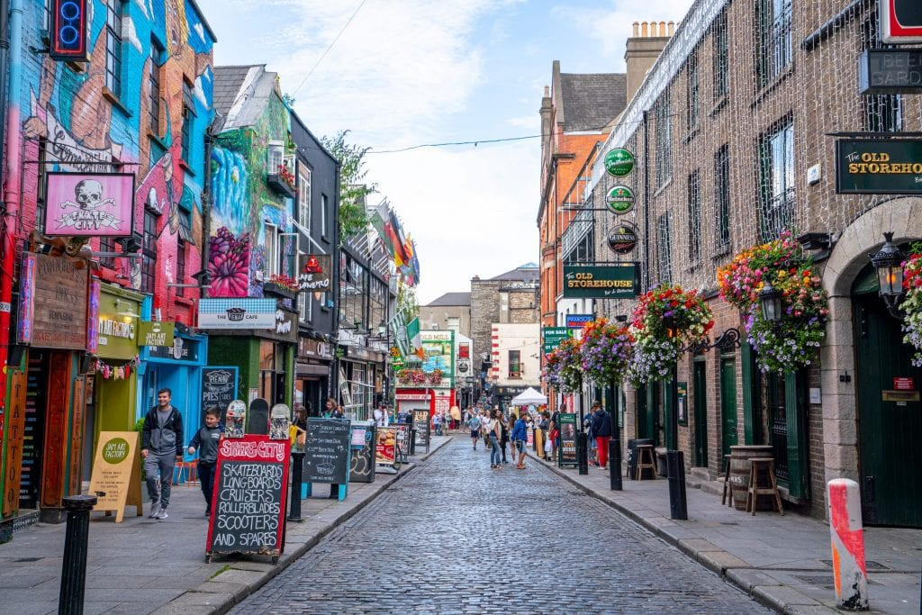 Colorful street in Temple Bar District, a must-see neighborhood when spending a couple of days in Dublin Ireland
