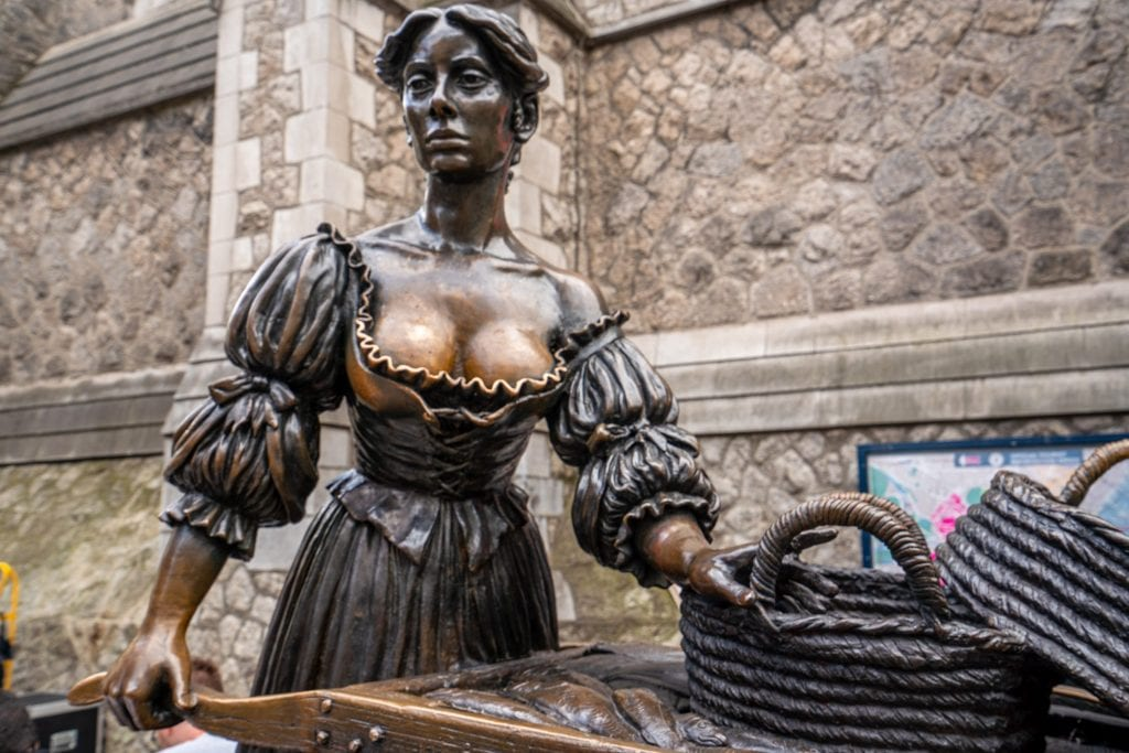Statue of Molly Malone as seen during 2 days in Dublin Ireland