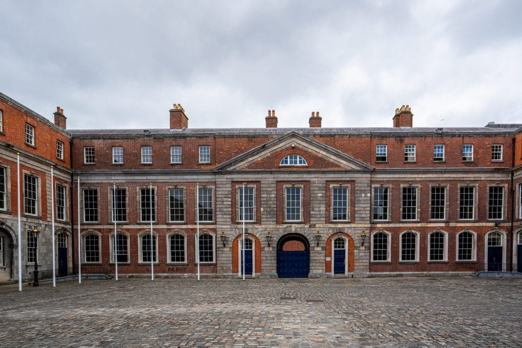 Portion of the exterior of Dublin Castle on a gray, cloudy day