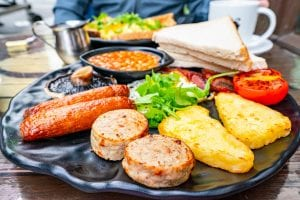 Full Irish breakfast served in Dublin, one of the best things to try when looking for the best food in Ireland