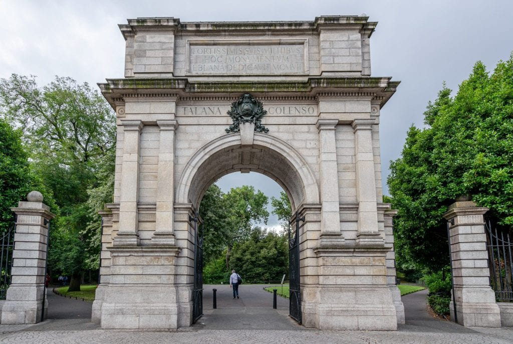 Archway marking the entrance to St Stephen's Green in Dublin Ireland