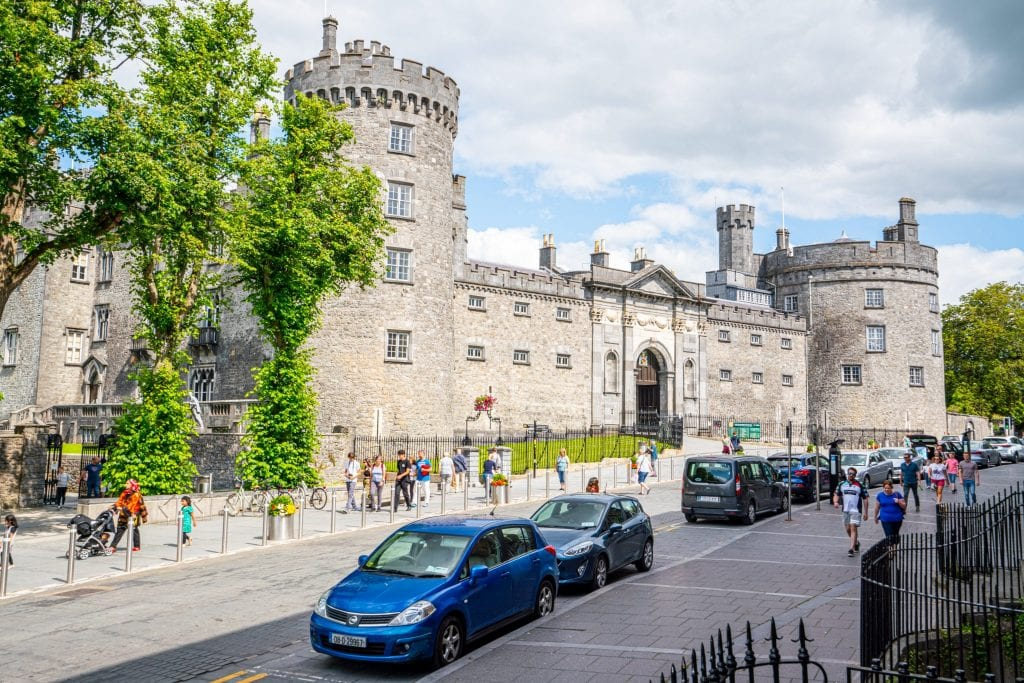 Kilkenny Castle in Kilkenny Ireland, one of the prettiest villages in Ireland, as seen from across the street