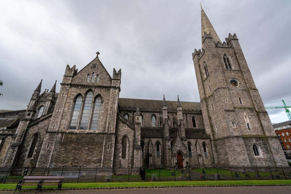 Exterior of St. Patrick's Cathedral in Dublin Ireland on a cloudy day.