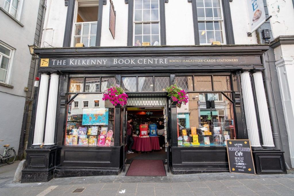 Front facade of a colorful boosktore in Kilkenny Ireland