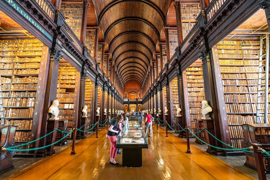 The Long Room at Trinity College photographed from the center--an absolute must-see when spending 2 days in Dublin.