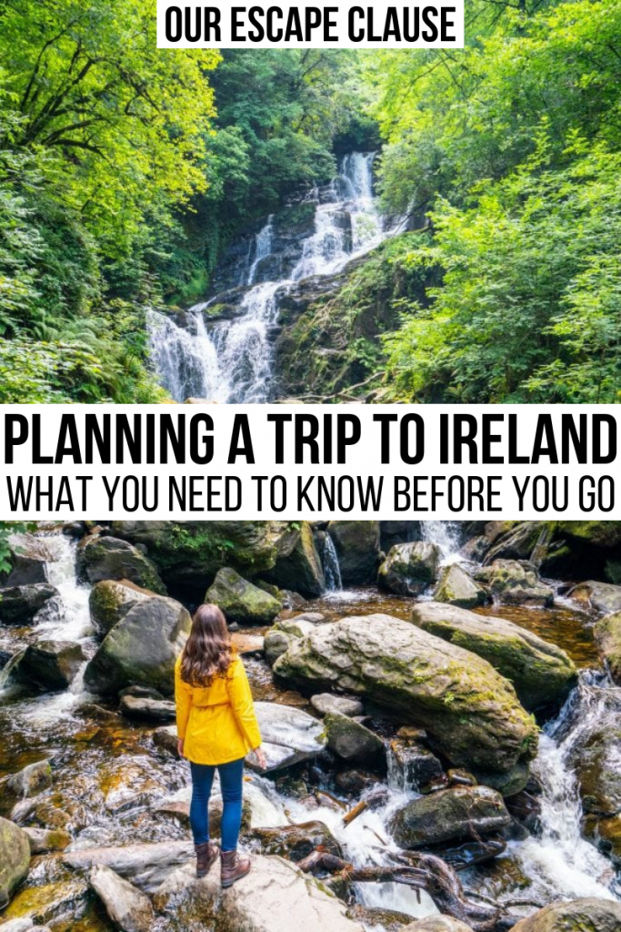 "Torc Waterfall with a woman in a yellow rain jacket looking up at it. Black text on a white background says ""Planning a Trip to Ireland What You Need to Know"""
