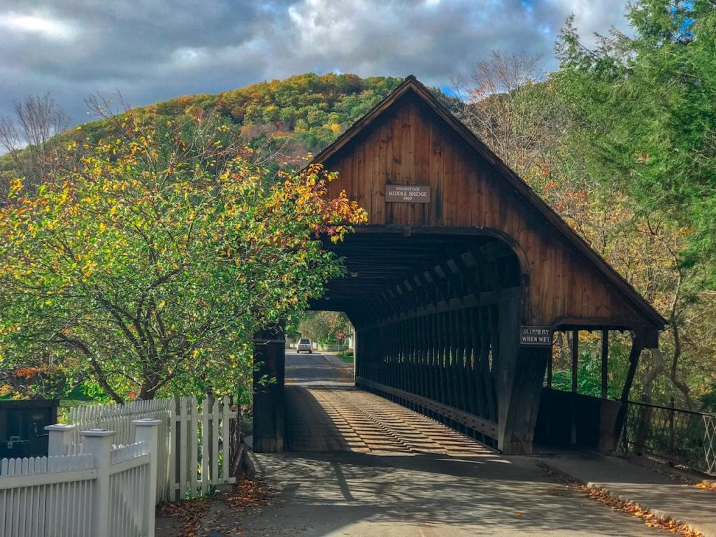 Covered bridge in Woodstock Vermont, one of the most iconic places to visit in New England.