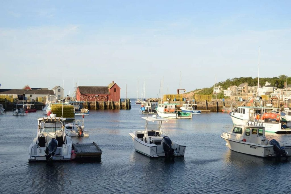 Harbor of Rockport MA with boats in the foreground--one of the best places to see in New England