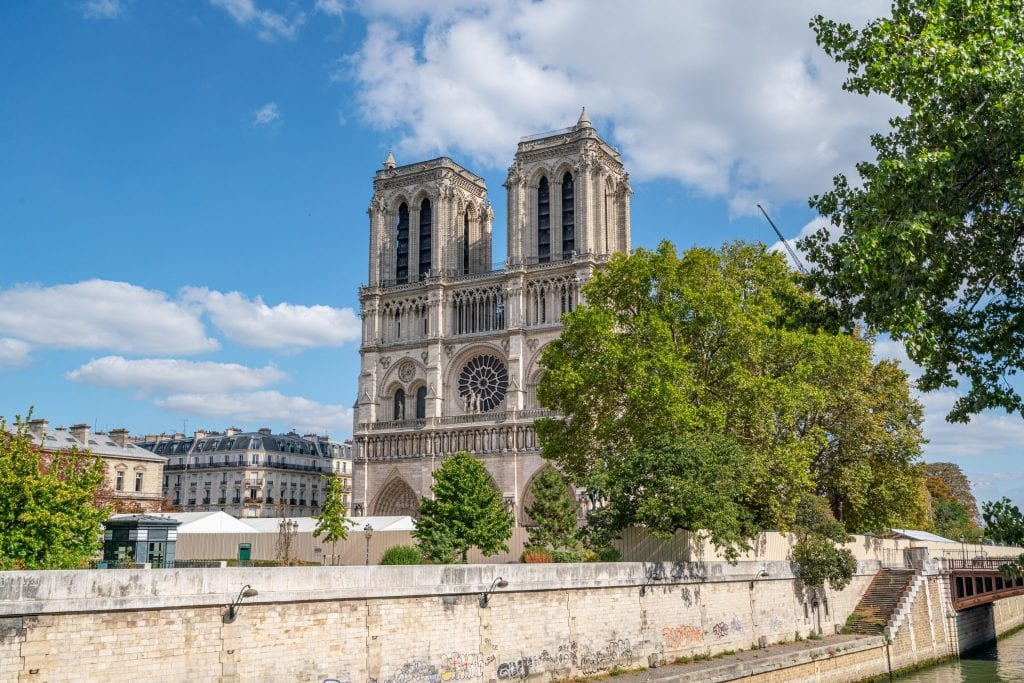 View of the front of Notre Dame as of September 2019, after the April 2019 fire