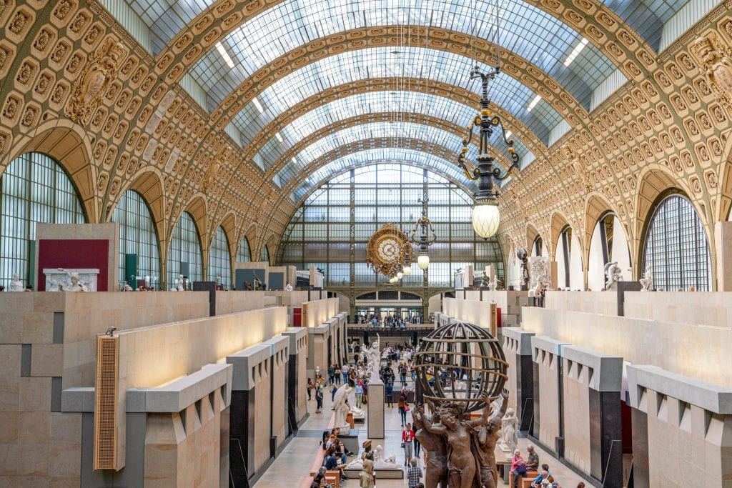 Interior of Musee d'Orsay museum from above