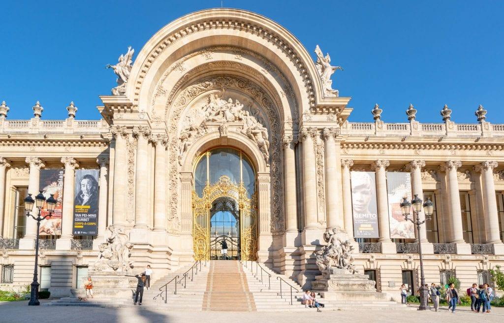 Golden doors of the Petit Palais in Paris France