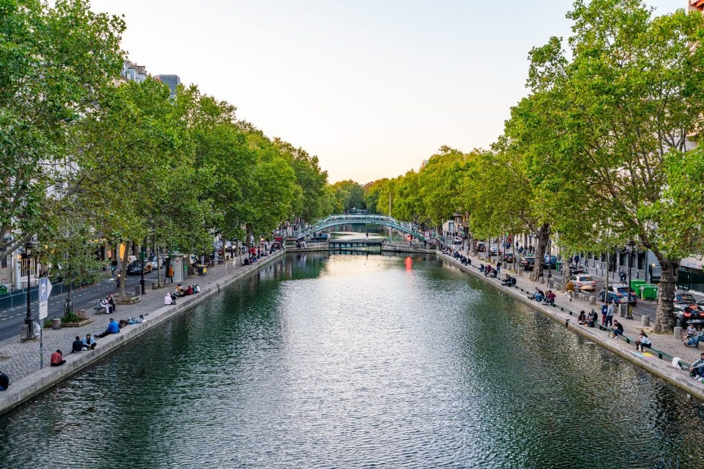 Canal Saint-Martin near sunset, taken from a bridge over the canal--this secret Paris spot is perfect for exploring Paris off the beaten path