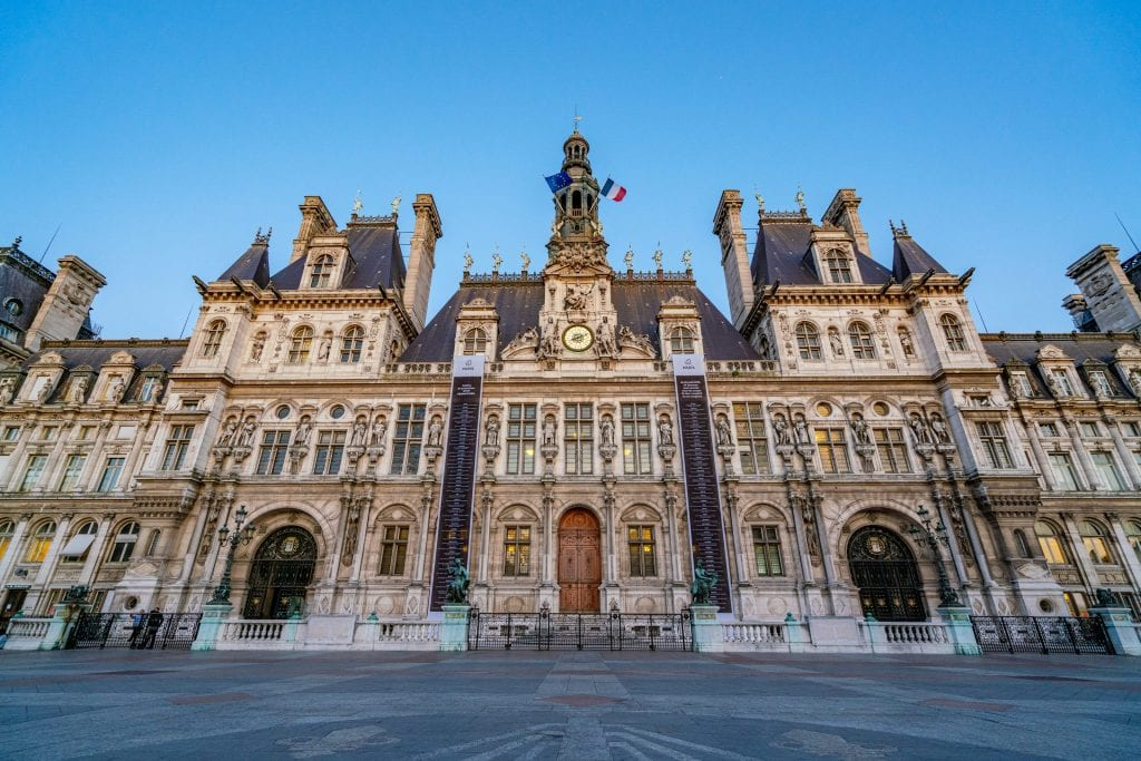 front facade of Hotel de Ville, a beautiful destination for a walk when deciding what to do in Paris at night