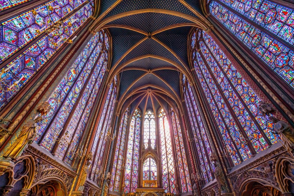 interior of sainte-chapelle in paris -- learning how to budget for a trip helped us experience this for the first time