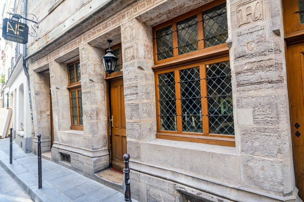 Front of Nicholas Flamel's house, one of the hidden gems in Paris France