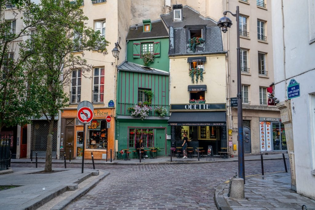 Odette Cafe in Paris with no people in front, one of the best places to take photos in Paris France