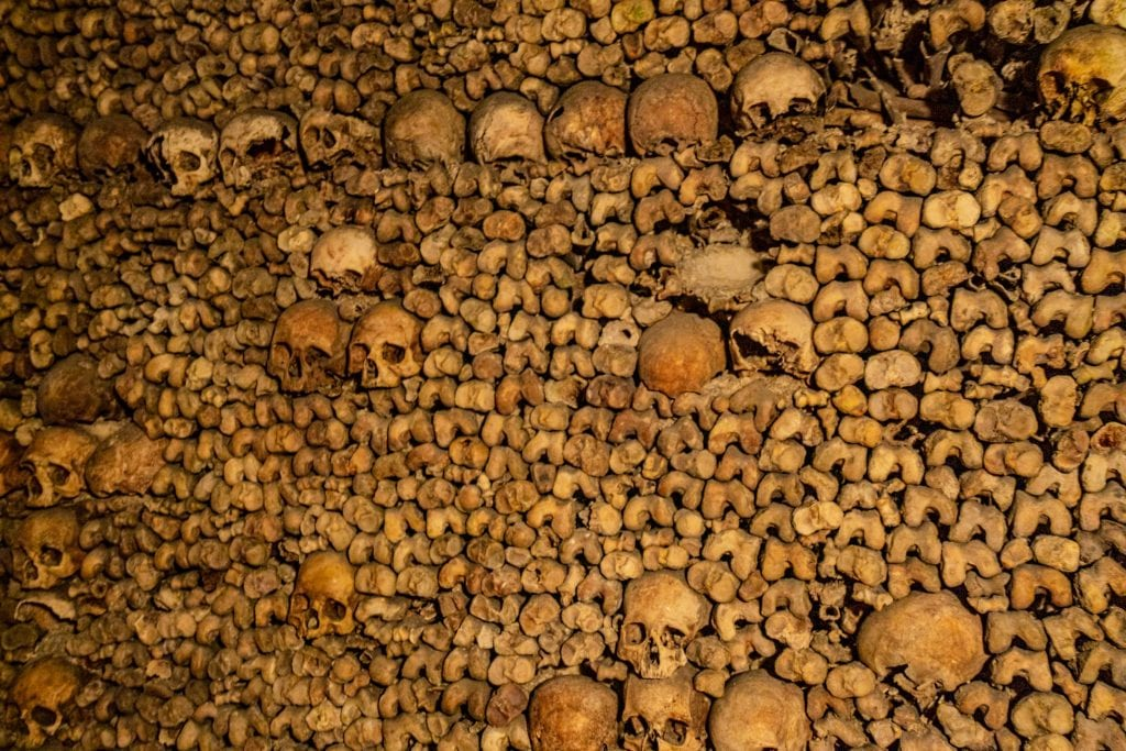 Wall of bones as seen when visiting the Paris catacombs