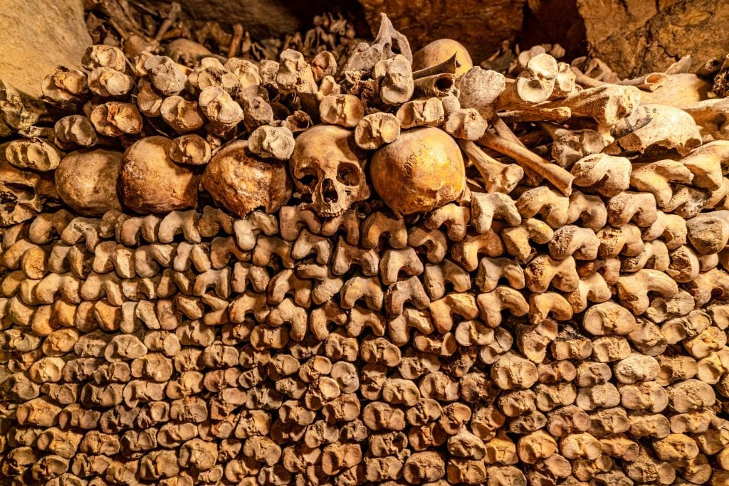 Stack of bones as seen on a Paris catacombs tour