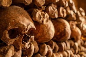 Stacked bones as seen when visiting the Paris catacombs with a skull in the foreground on the left side of the photo