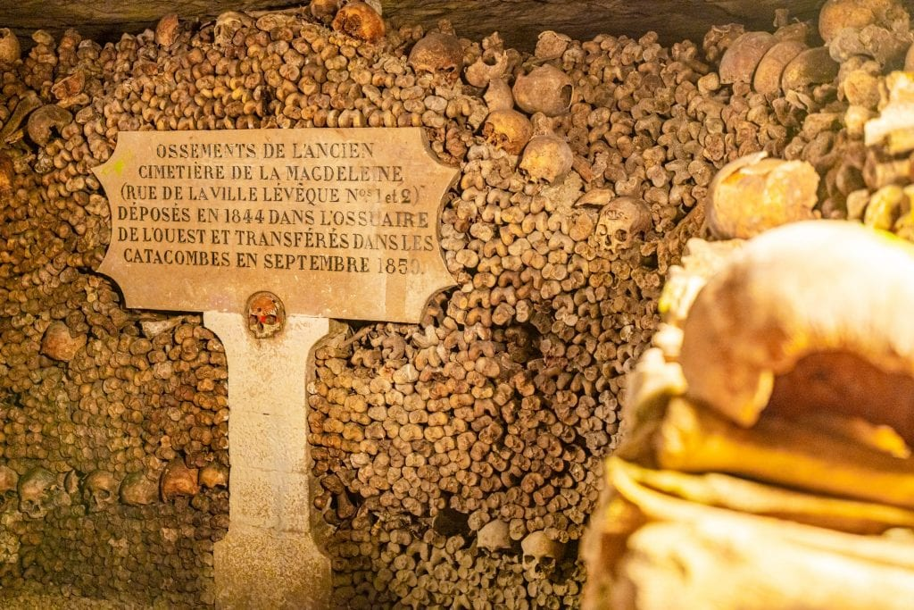 Stack of bones as seen on a Paris catacombs tour with a memorial plaque in front of them.