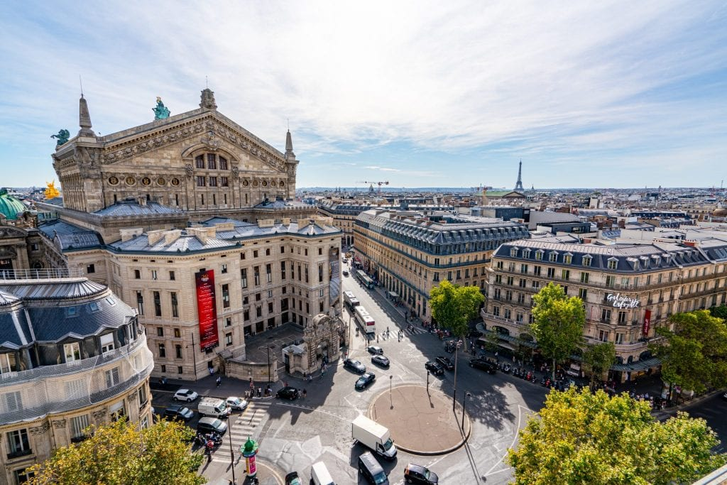 View of Paris Opera House and Eiffel Tower from rooftop of Galeries Lafayette, one of the best instagram spots in Paris