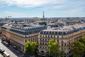 View of the Eiffel Tower from Galeries Lafayette Department Store, a must-see during your 2 days in Paris itinerary