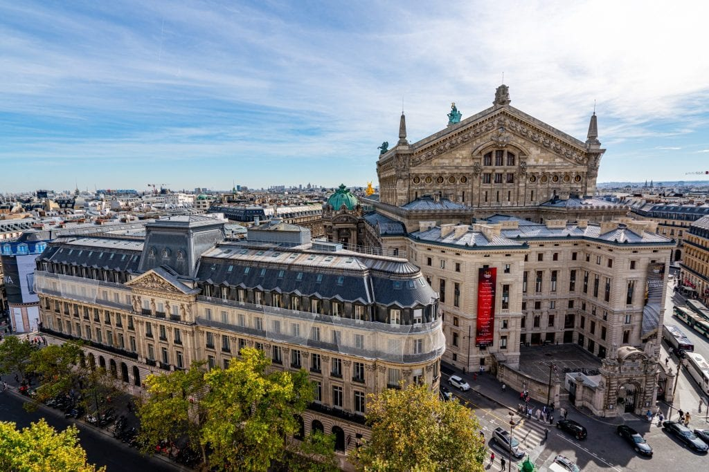 view of the paris opera house from galeries lafayette, as seen while work and travel