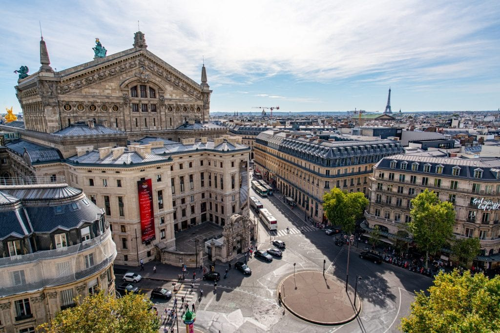 View from the Galeries Lafayette rooftop with the Eiffel Tower and Paris Opera House both visible--this rooftop terrace is an epic way to see views of Paris off the beaten path