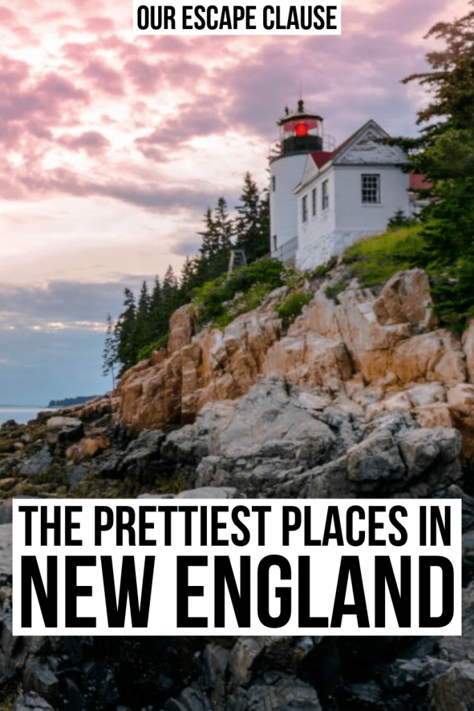 "Photo of lighthouse in Acadia National Park, one of the best places to visit in New England. Black text on a white background reads ""The prettiest places in New England"""