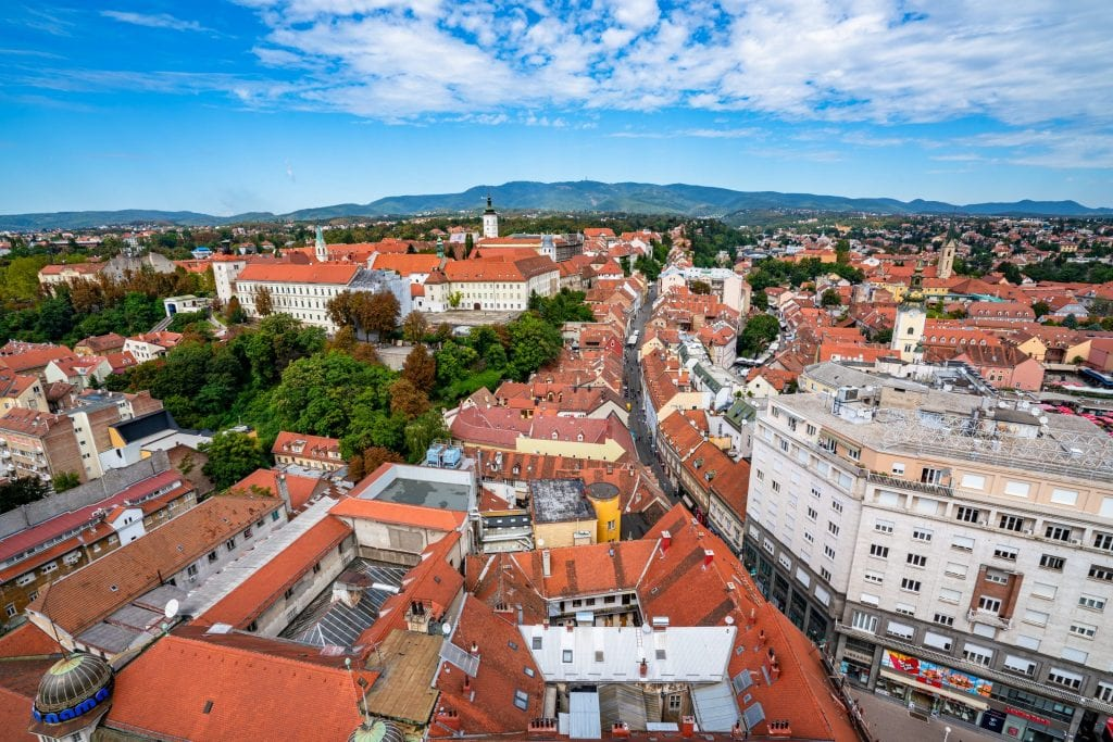 View of Zagreb Croatia from above, as seen from Zagreb 360