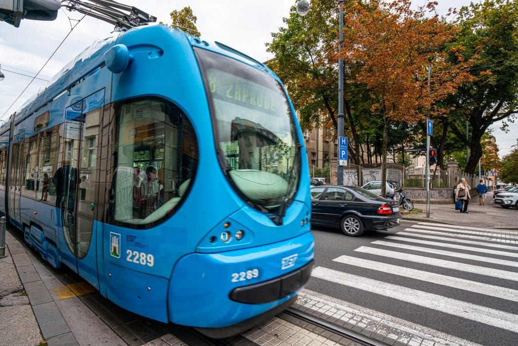 Photo of a blue tram in Zagreb Croatia