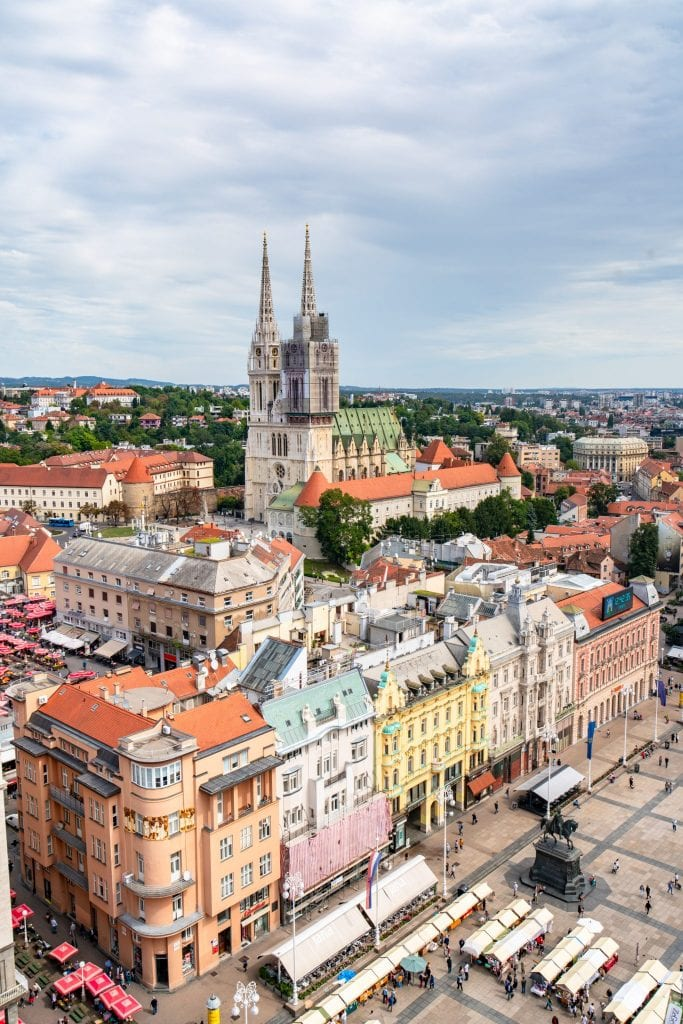 View of Ban Jelacic from Zagreb 360, a must-visit during one day in Zagreb!