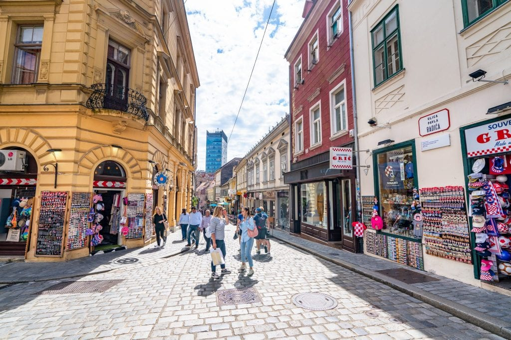 Pedestrian Street in Zagreb Croatia with a yello building on the left