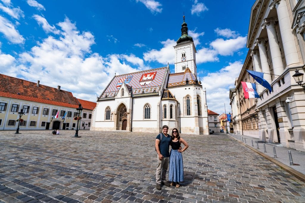 Kate Storm and Jeremy Storm in front of St. Mark's Church--even if you're only seeing Zagreb in a day, it's definitely worth stopping by here!