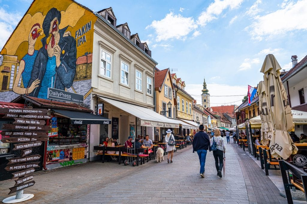 Tkalčićeva Street in Zagreb Croatia with a street-art piece of a chicken on the lefthand side of the photo