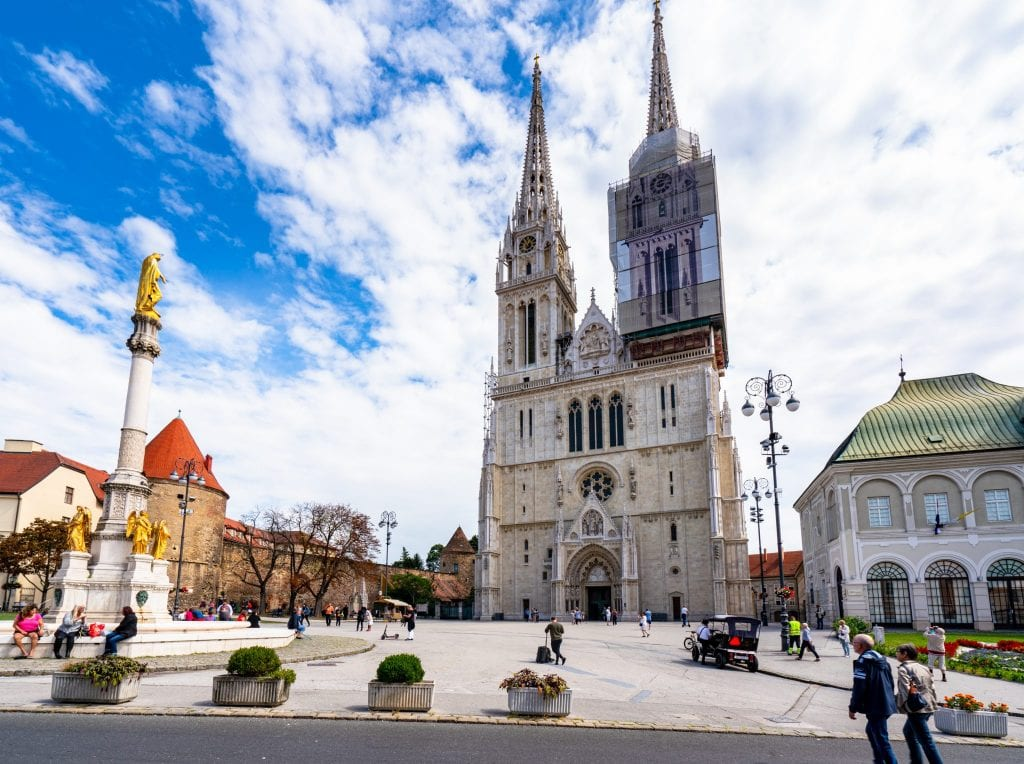 Photo of Zagreb Cathedral from the front--definitely add this to your lists of things to see with one day in Zagreb Croatia.