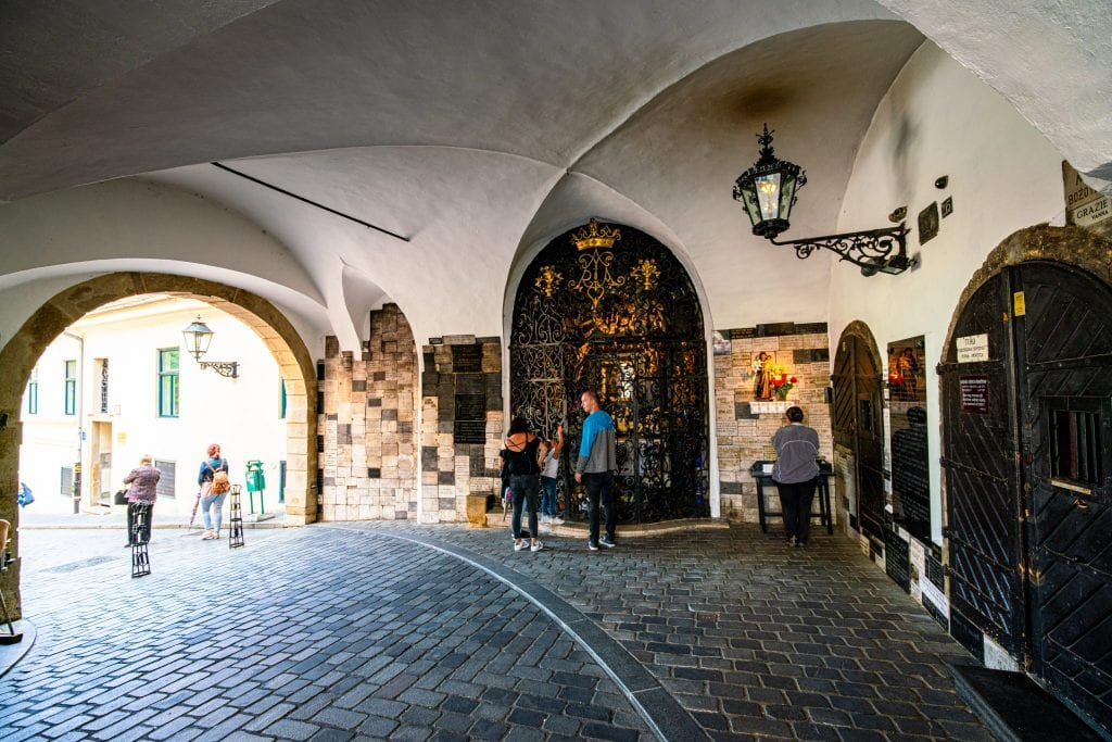 Photo of interior of Stone Gate in Zagreb Croatia, a must-see when spending one day in Zagreb