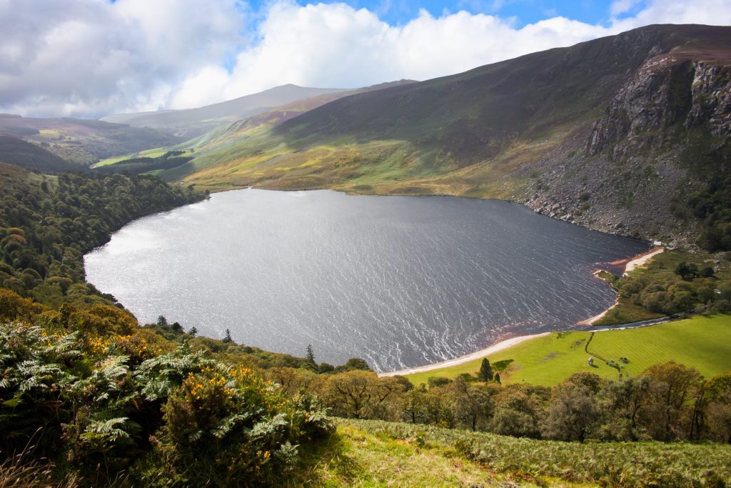 guinness lake in the wicklow mountains ireland as seen from above