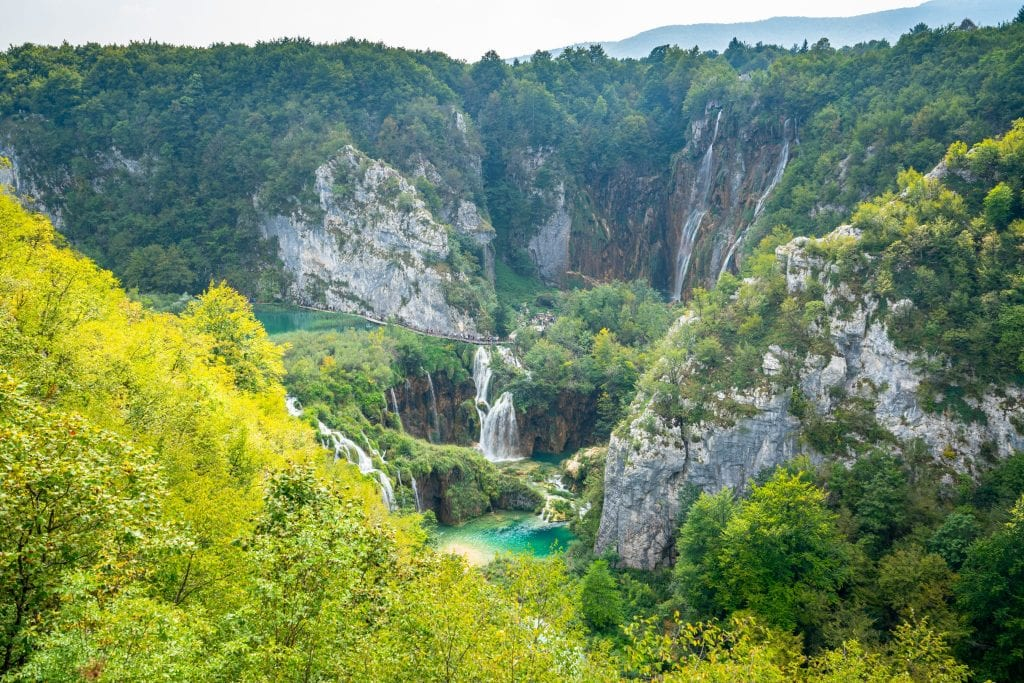 Veliki Slap as seen from across the gorge near Entrance 1 to the Plitvice Lakes Croatia