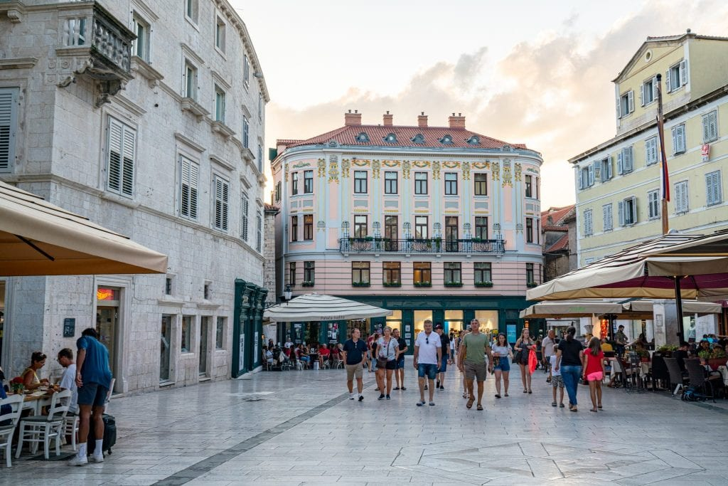 People's Square in Split Croatia at sunset