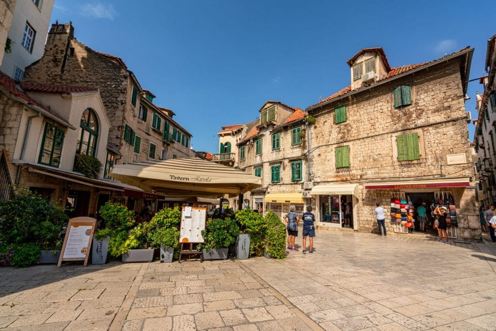 Photo of a quiet square in Split Croatia--wake up early to enjoy views like this during your one day Split itinerary!