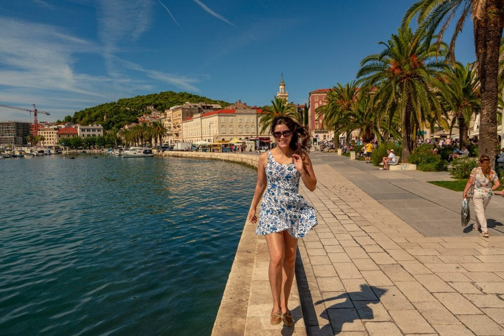 Kate Storm skipping along the Riva in Split Croatia
