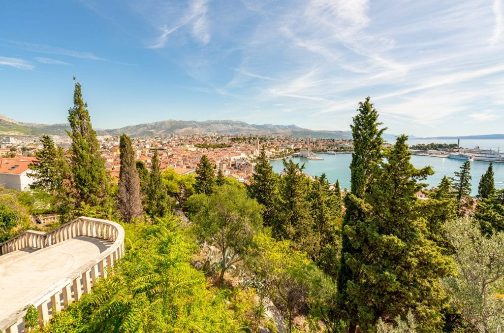 Overview of Split Croatia as seen from Marjan Hill--whether you visit Dubrovnik or Split, you'll be able to get great views of the city from above!