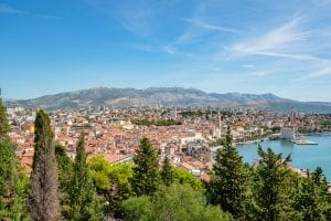 View of Split Croatia as seen from Marjan Hill on a sunny day--definitely don't missing visiting Split on your 10 days in Croatia itinerary!